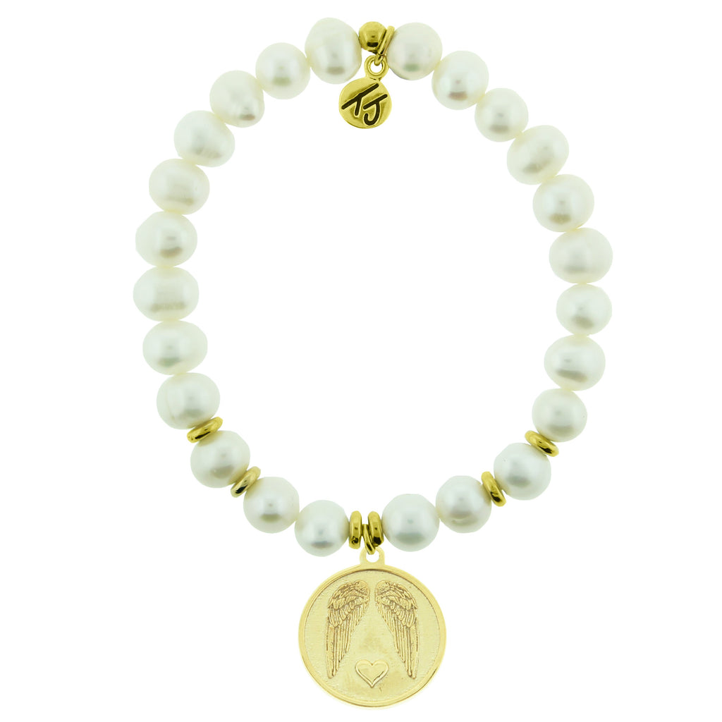 Gold Collection - White Pearl Stone Bracelet with Guardian Gold Charm