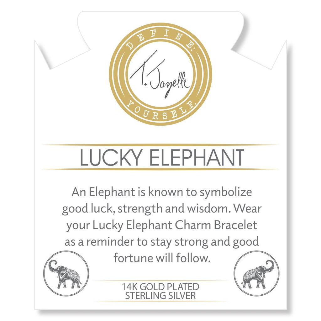 Gold Collection - White Pearl Stone Bracelet with Lucky Elephant Gold Charm