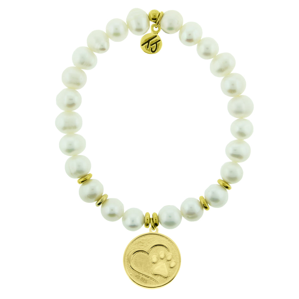 Gold Collection - White Pearl Stone Bracelet with Paw Print Gold Charm