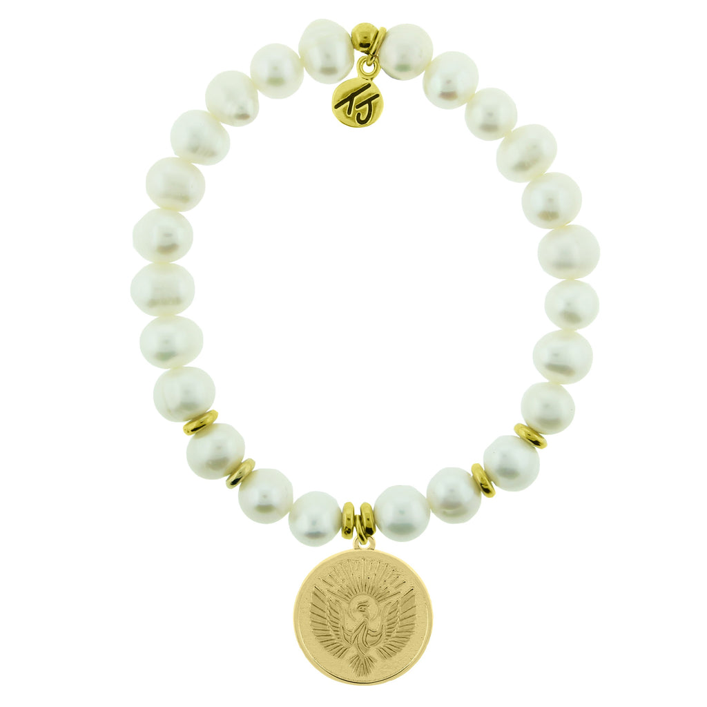 Gold Collection - White Pearl Stone Bracelet with Phoenix Gold Charm