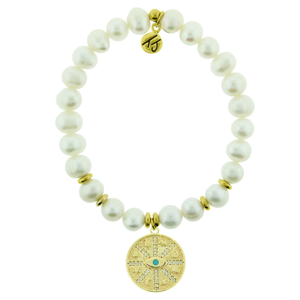 Gold Collection - White Pearl Stone Bracelet with Protection Gold Charm