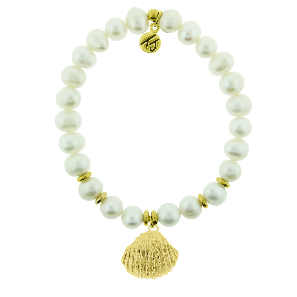 Gold Collection - White Pearl Stone Bracelet with Seashell Gold Charm