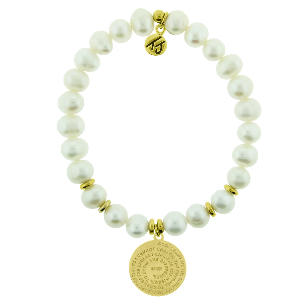 Gold Collection - White Pearl Stone Bracelet with Serenity Prayer Gold Charm