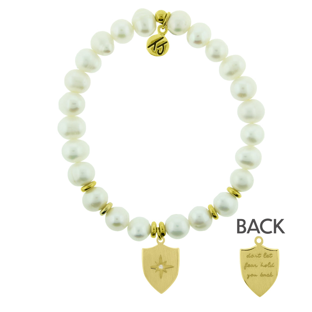 Gold Collection - White Pearl Stone Bracelet with Shield of Strength Gold Charm