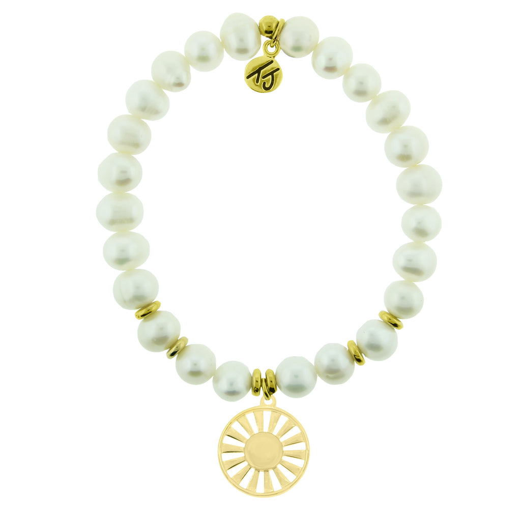 Gold Collection - White Pearl Stone Bracelet with Sun Gold Charm
