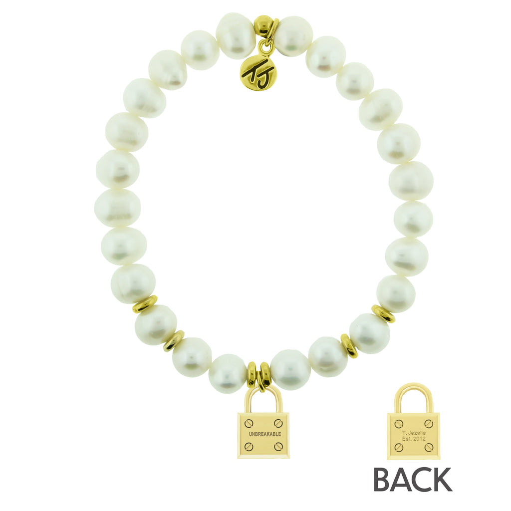 Gold Collection - White Pearl Stone Bracelet with Unbreakable Gold Charm