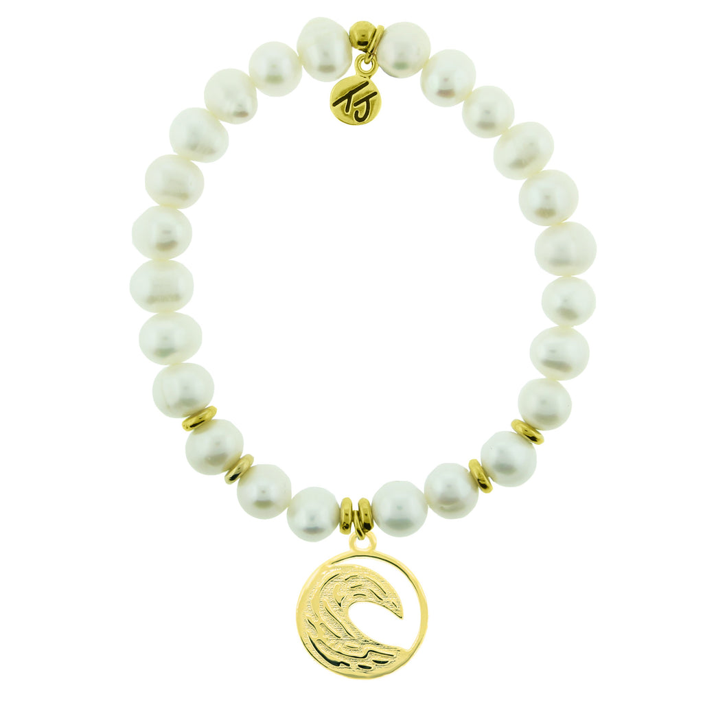 Gold Collection - White Pearl Stone Bracelet with Wave Gold Charm