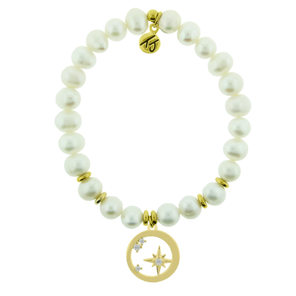 Gold Collection - White Pearl Stone Bracelet with What is Meant to Be Gold Charm