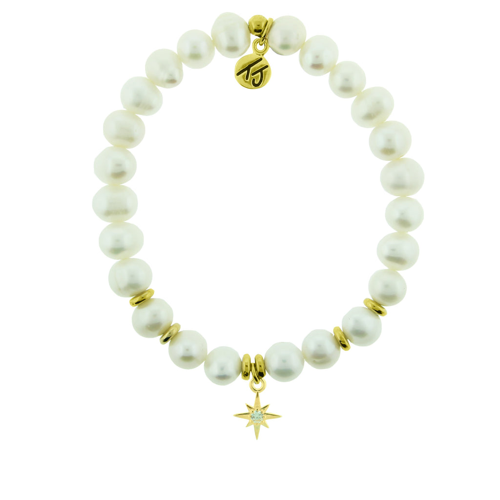 Gold Collection - White Pearl Stone Bracelet with Your Year Gold Charm