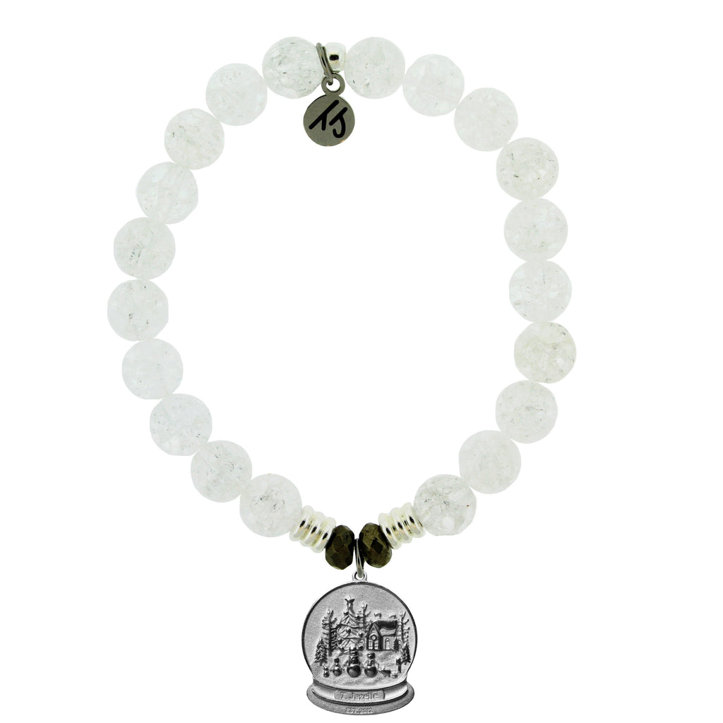Holiday Exclusive Snowflake Quartz Stone Bracelet with Winter Wonderland Sterling Silver Charm
