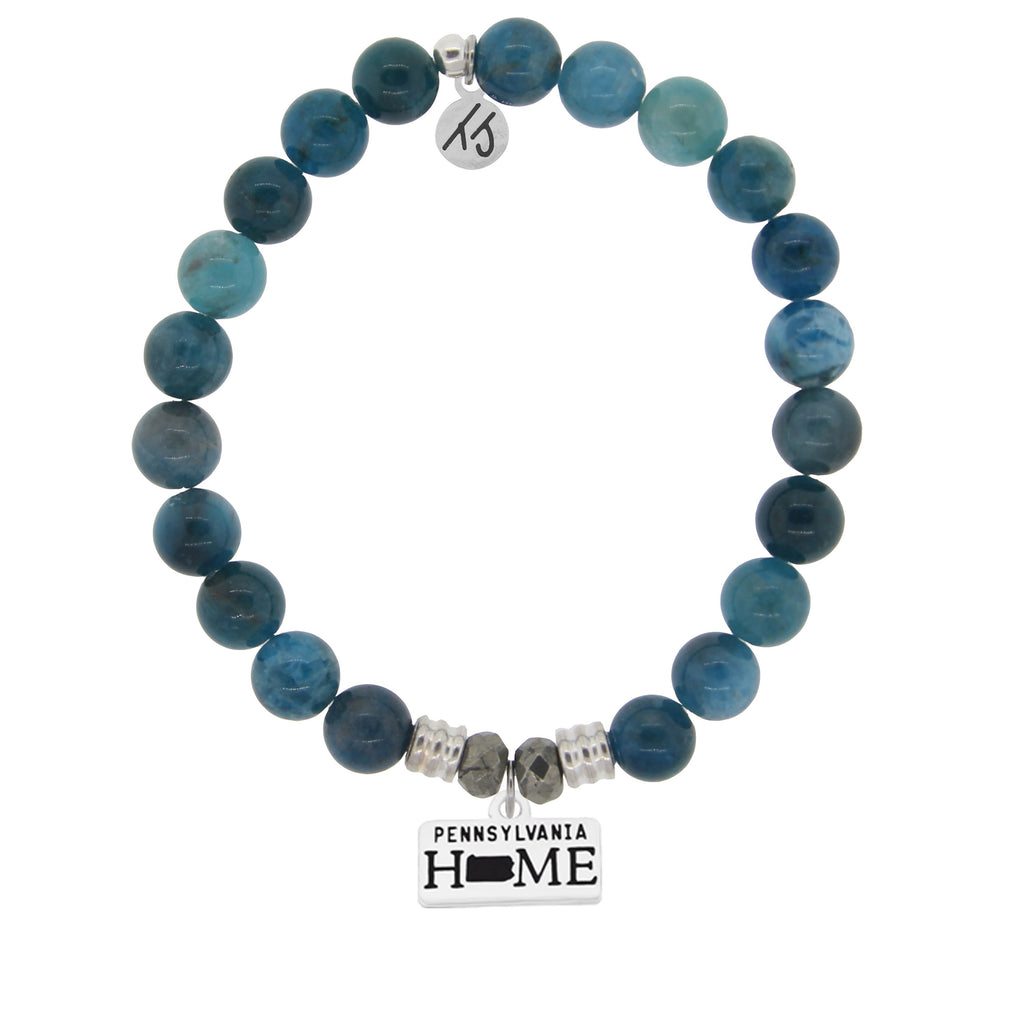Home Collection- Arctic Apatite Stone Bracelet with Pennsylvania Sterling Silver Charm