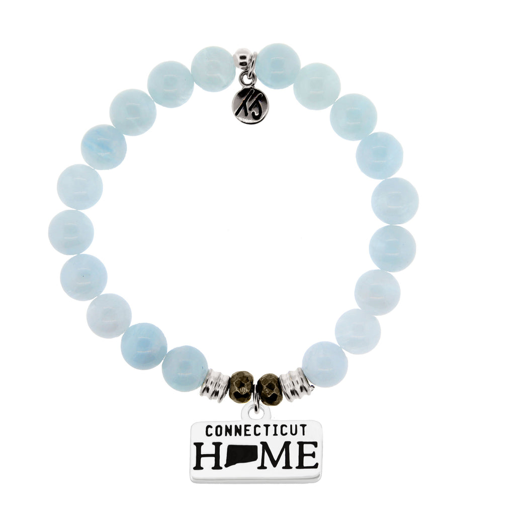Home Collection- Blue Aquamarine Stone Bracelet with Connecticut Sterling Silver Charm