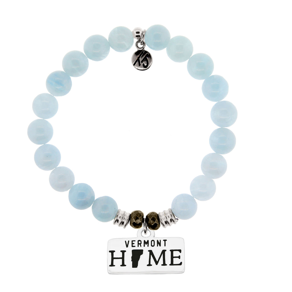 Home Collection- Blue Aquamarine Stone Bracelet with Vermont Sterling Silver Charm