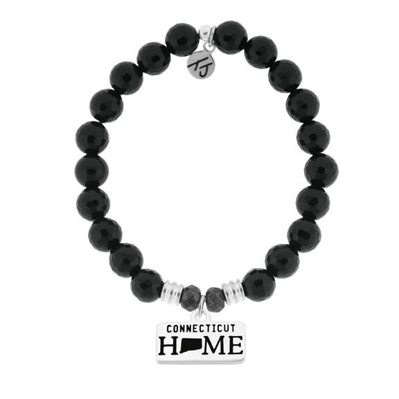 Home Collection-Onyx Stone Bracelet with Connecticut Sterling Silver Charm