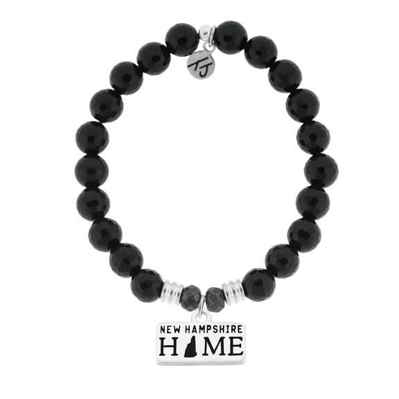Home Collection-Onyx Stone Bracelet with New Hampshire Sterling Silver Charm