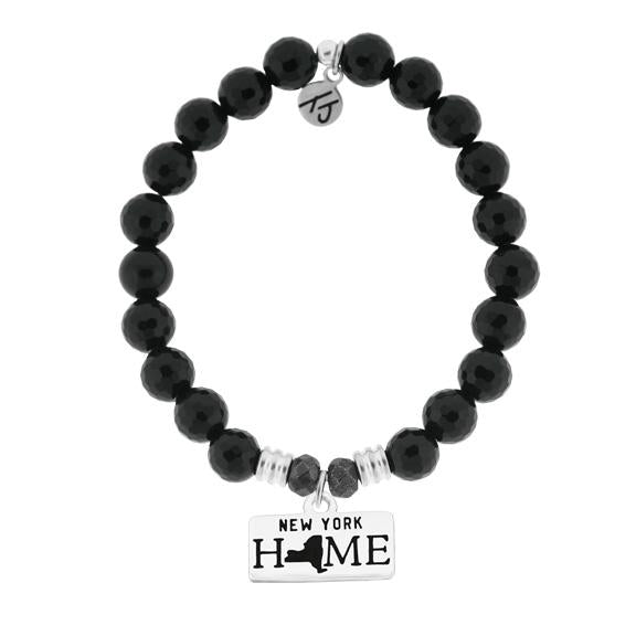 Home Collection-Onyx Stone Bracelet with New York Sterling Silver Charm