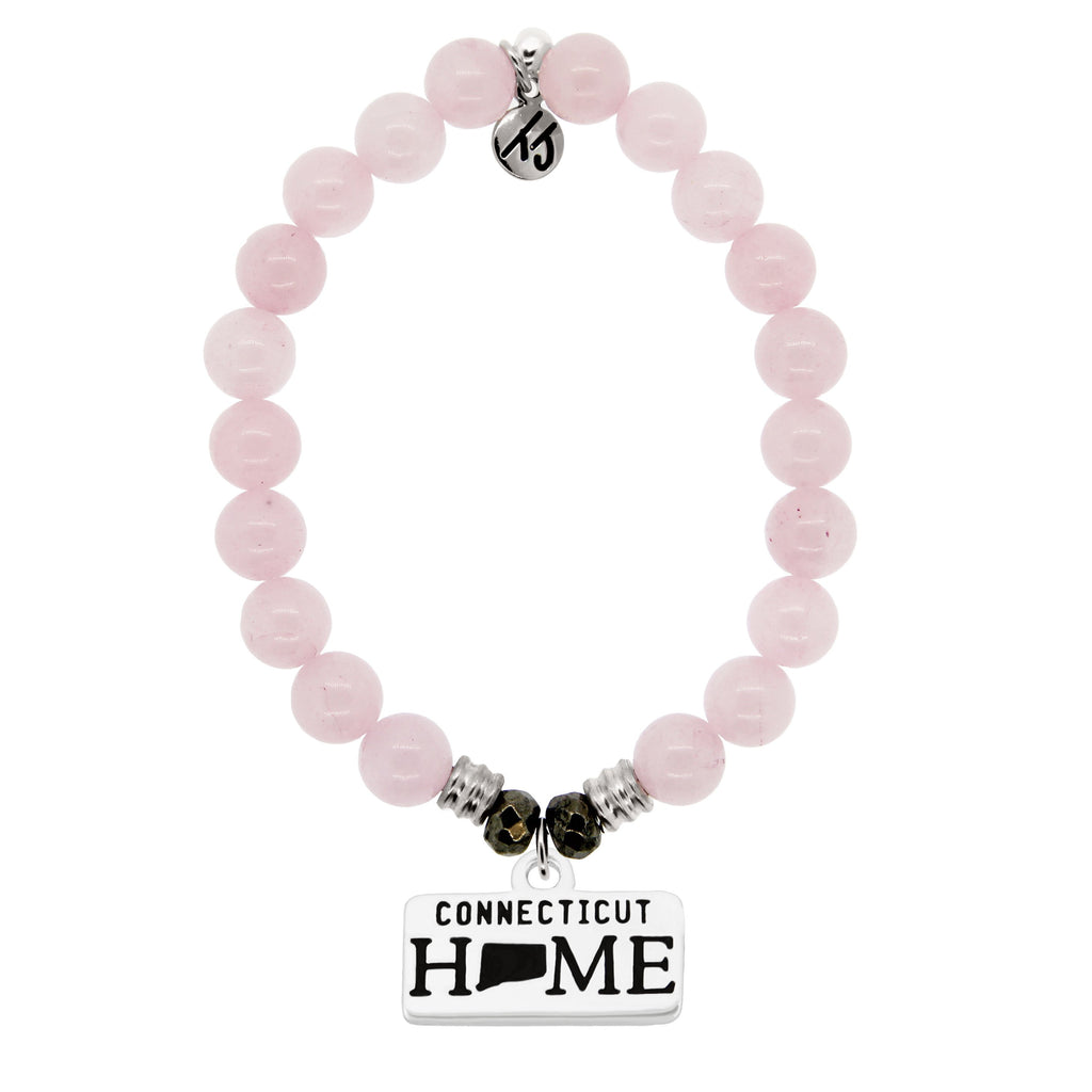 Home Collection- Rose Quartz Stone Bracelet with Connecticut Sterling Silver Charm