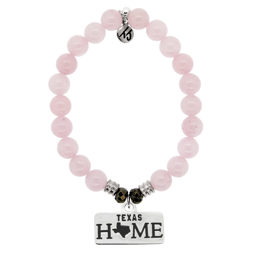 Home Collection- Rose Quartz Stone Bracelet with Texas Sterling Silver Charm