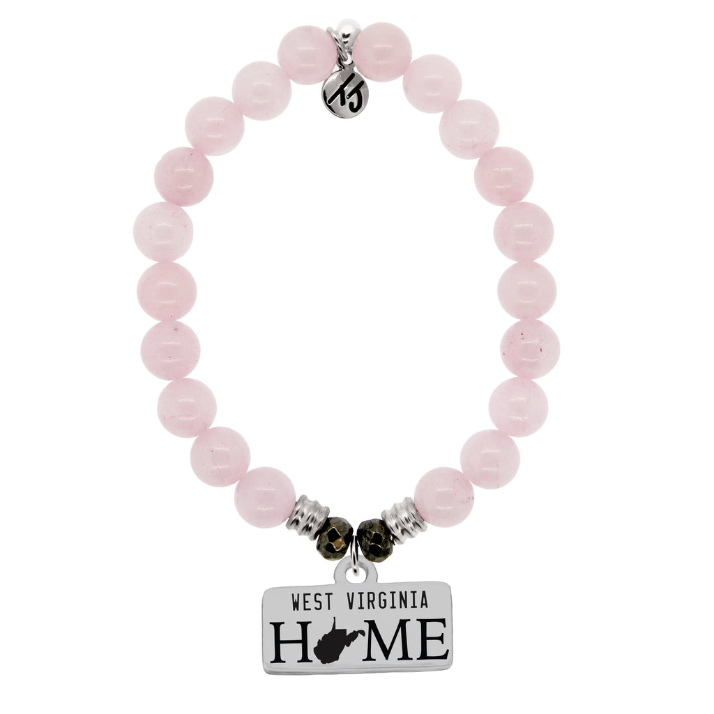 Home Collection- Rose Quartz Stone Bracelet with West Virginia Sterling Silver Charm