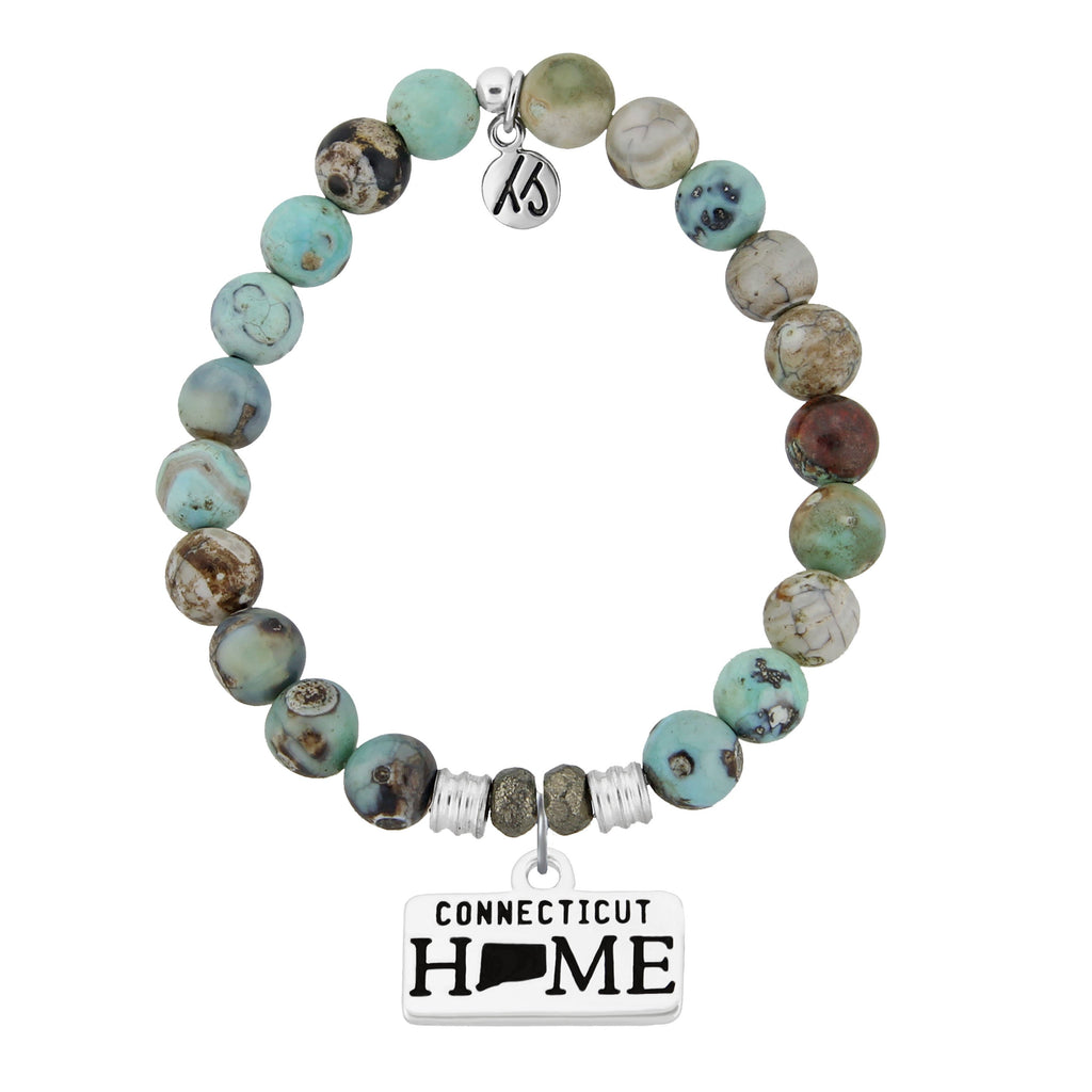 Home Collection- Turquoise Jasper Stone Bracelet with Connecticut Sterling Silver Charm