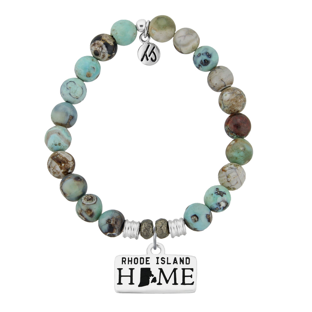 Home Collection- Turquoise Jasper Stone Bracelet with Rhode Island Sterling Silver Charm