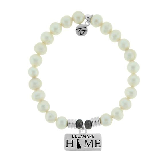 Home Collection-White Pearl Stone Bracelet with Delaware Sterling Silver Charm