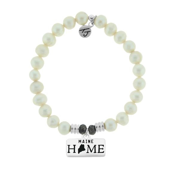 Home Collection-White Pearl Stone Bracelet with Maine Sterling Silver Charm