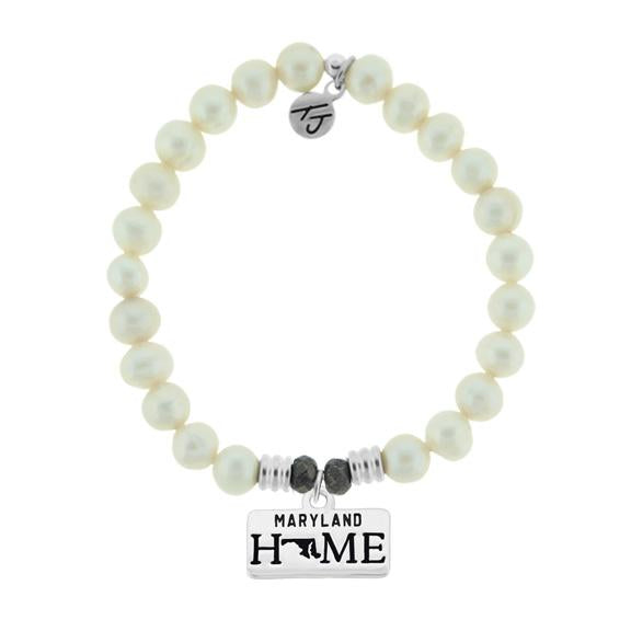 Home Collection-White Pearl Stone Bracelet with Maryland Sterling Silver Charm