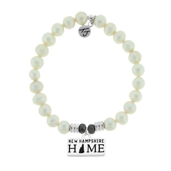 Home Collection-White Pearl Stone Bracelet with New Hampshire Sterling Silver Charm