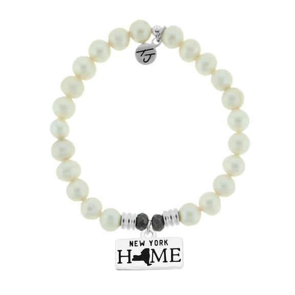 Home Collection-White Pearl Stone Bracelet with New York Sterling Silver Charm
