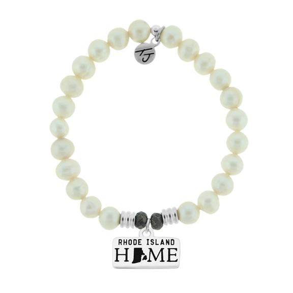 Home Collection-White Pearl Stone Bracelet with Rhode Island Sterling Silver Charm