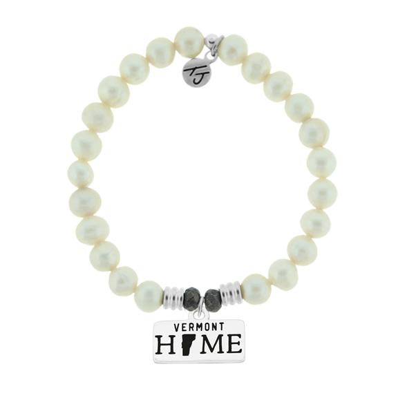Home Collection-White Pearl Stone Bracelet with Vermont Sterling Silver Charm
