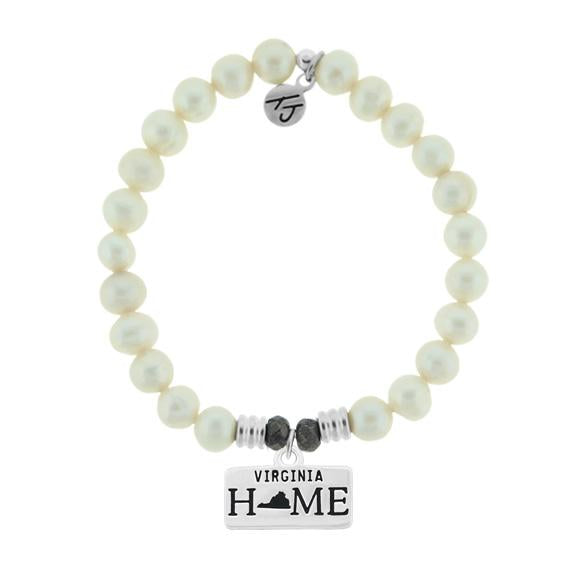 Home Collection-White Pearl Stone Bracelet with Virginia Sterling Silver Charm