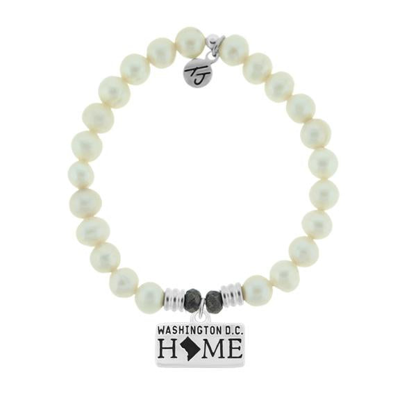 Home Collection-White Pearl Stone Bracelet with Washington D.C Sterling Silver Charm