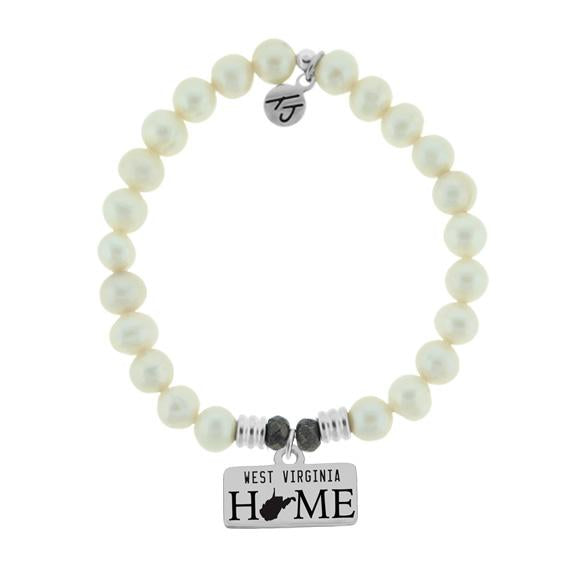 Home Collection-White Pearl Stone Bracelet with West Virginia Sterling Silver Charm