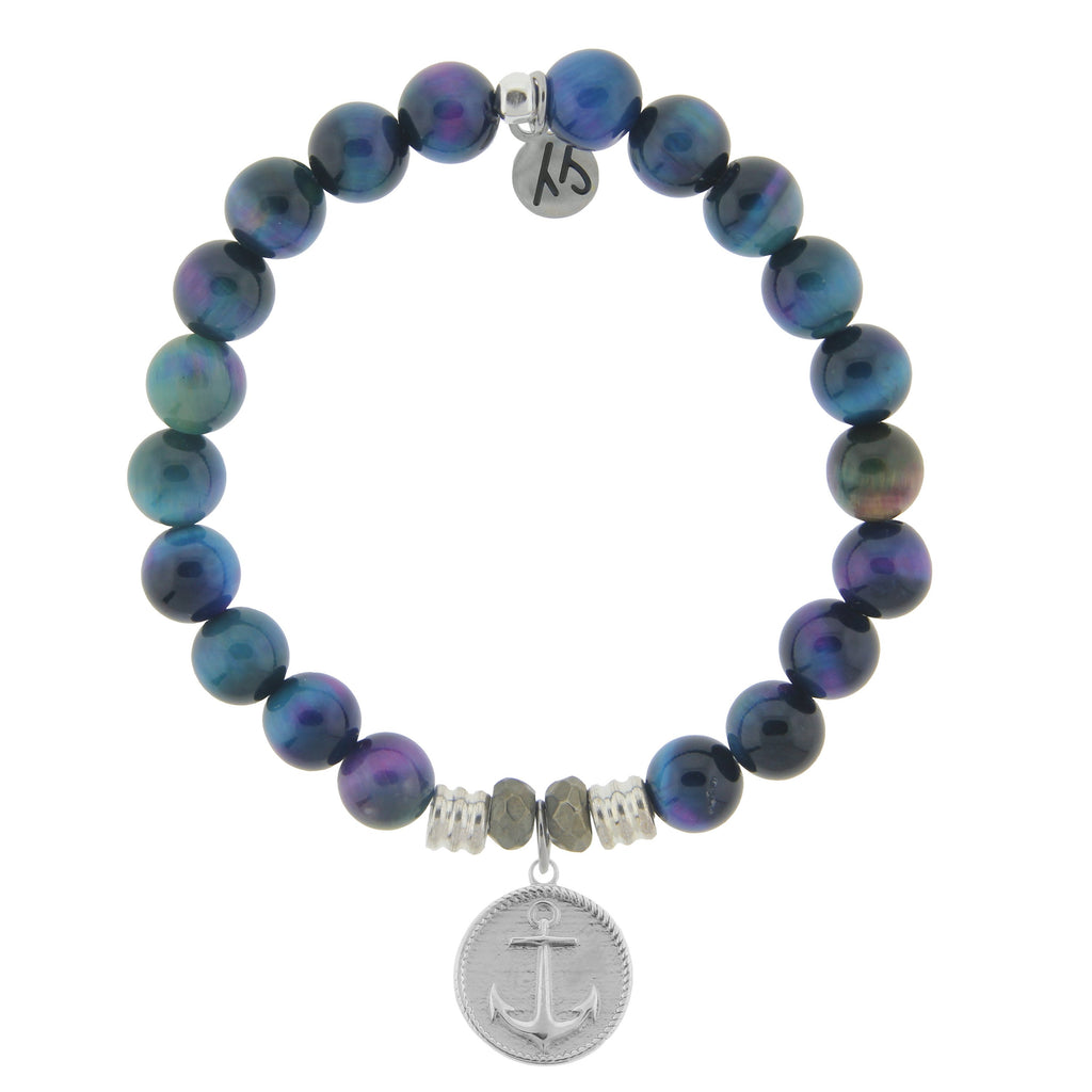 Indigo Tiger's Eye Stone Bracelet with Anchor Sterling Silver Charm