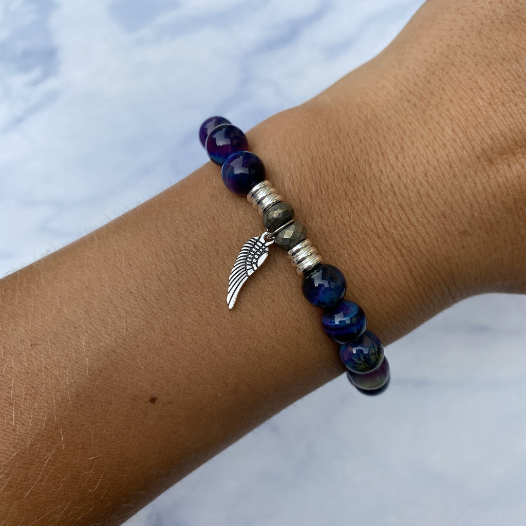 Indigo Tiger's Eye Stone Bracelet with Angel Wing Sterling Silver Charm