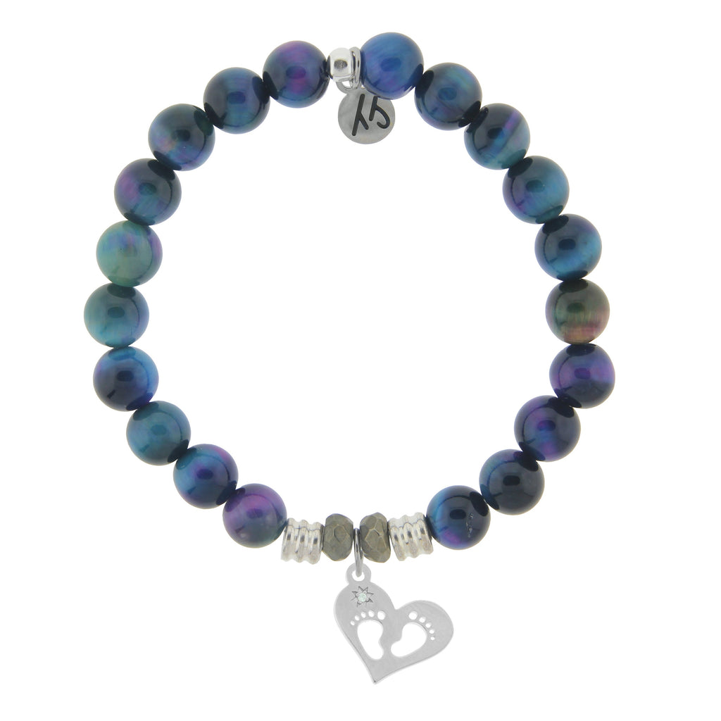 Indigo Tiger's Eye Stone Bracelet with Baby Feet Sterling Silver Charm