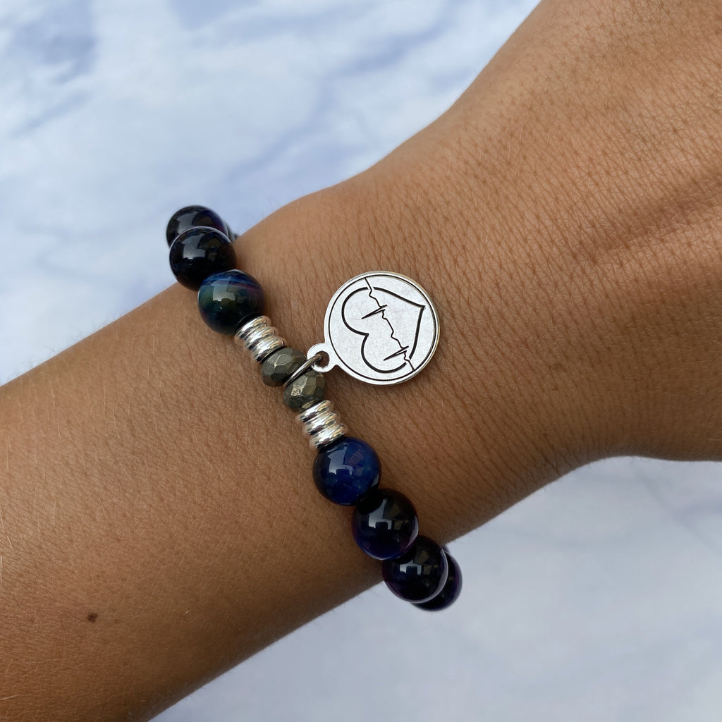 Indigo Tiger's Eye Stone Bracelet with Caduceus Sterling Silver Charm