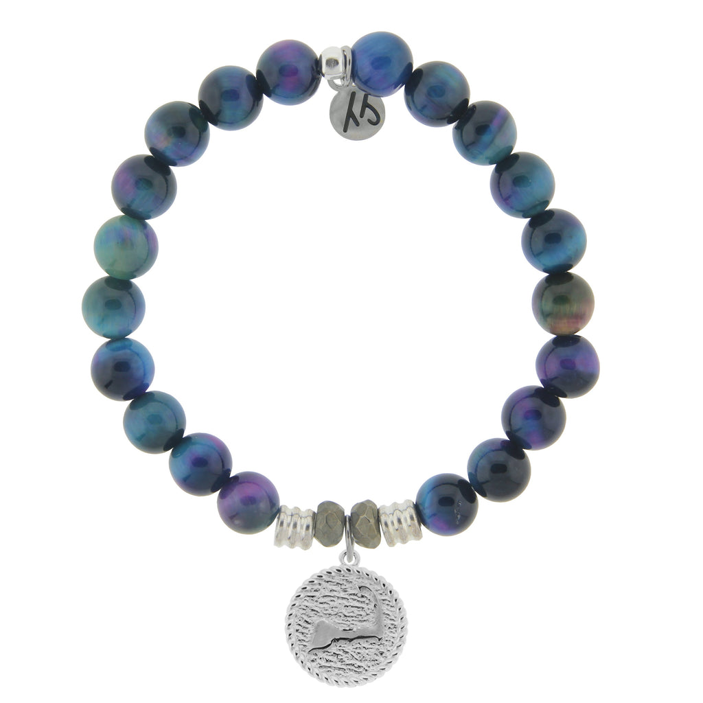 Indigo Tiger's Eye Stone Bracelet with Cape Cod Coin Sterling Silver Charm