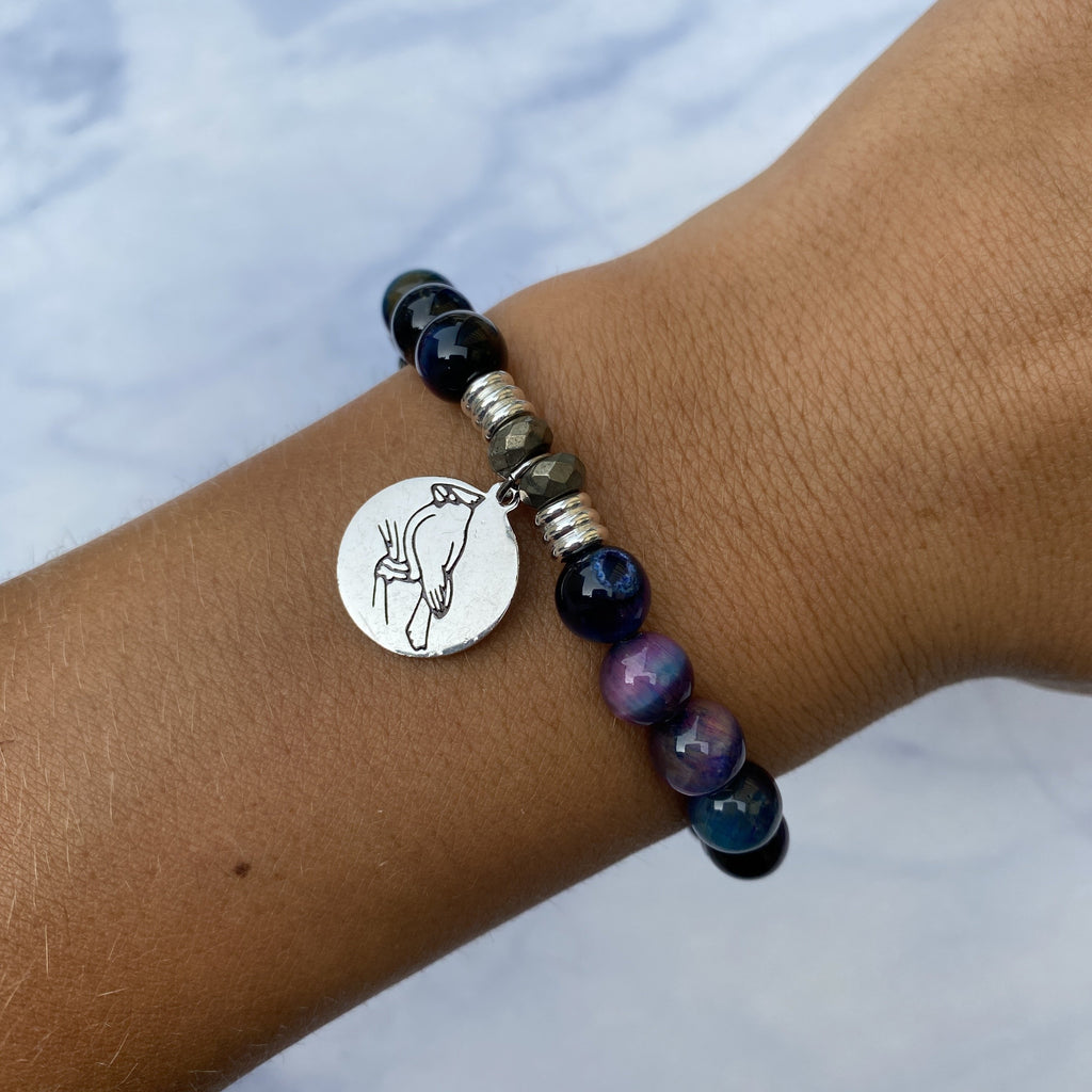Indigo Tiger's Eye Stone Bracelet with Cardinal Sterling Silver Charm