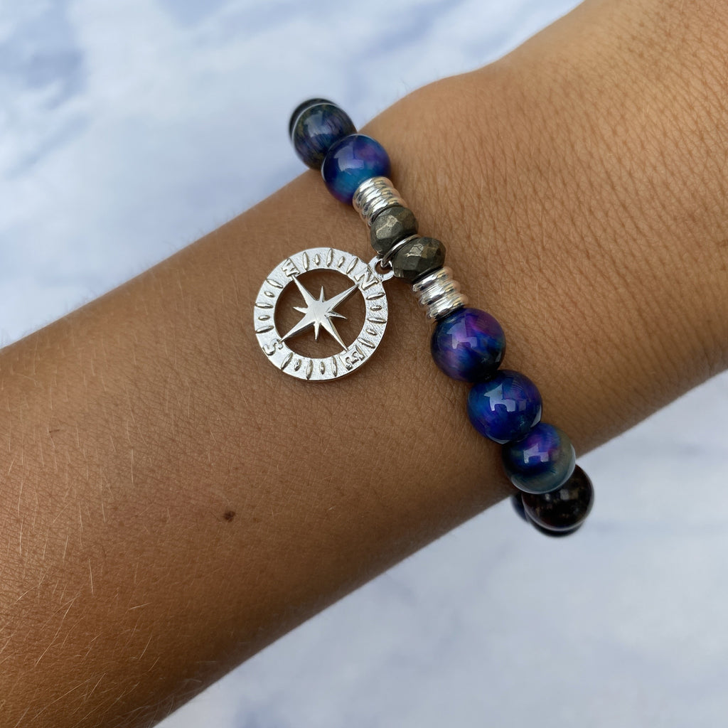 Indigo Tiger's Eye Stone Bracelet with Compass Rose Sterling Silver Charm
