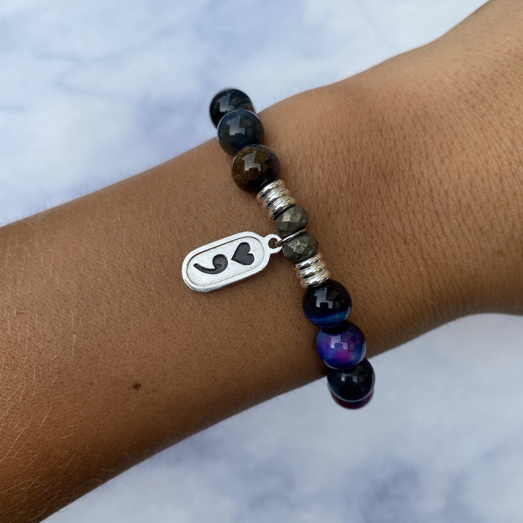 Indigo Tiger's Eye Stone Bracelet with Continue Sterling Silver Charm