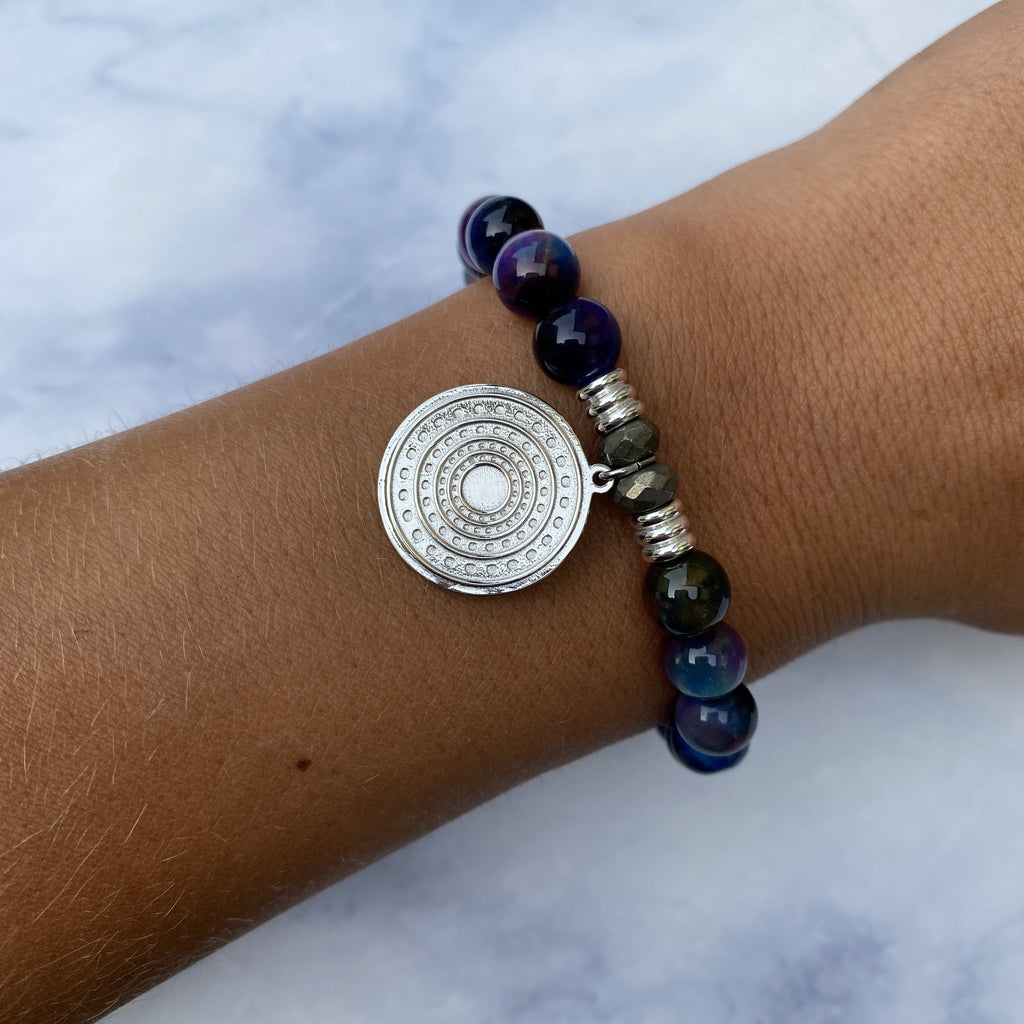 Indigo Tiger's Eye Stone Bracelet with Family Circle Sterling Silver Charm
