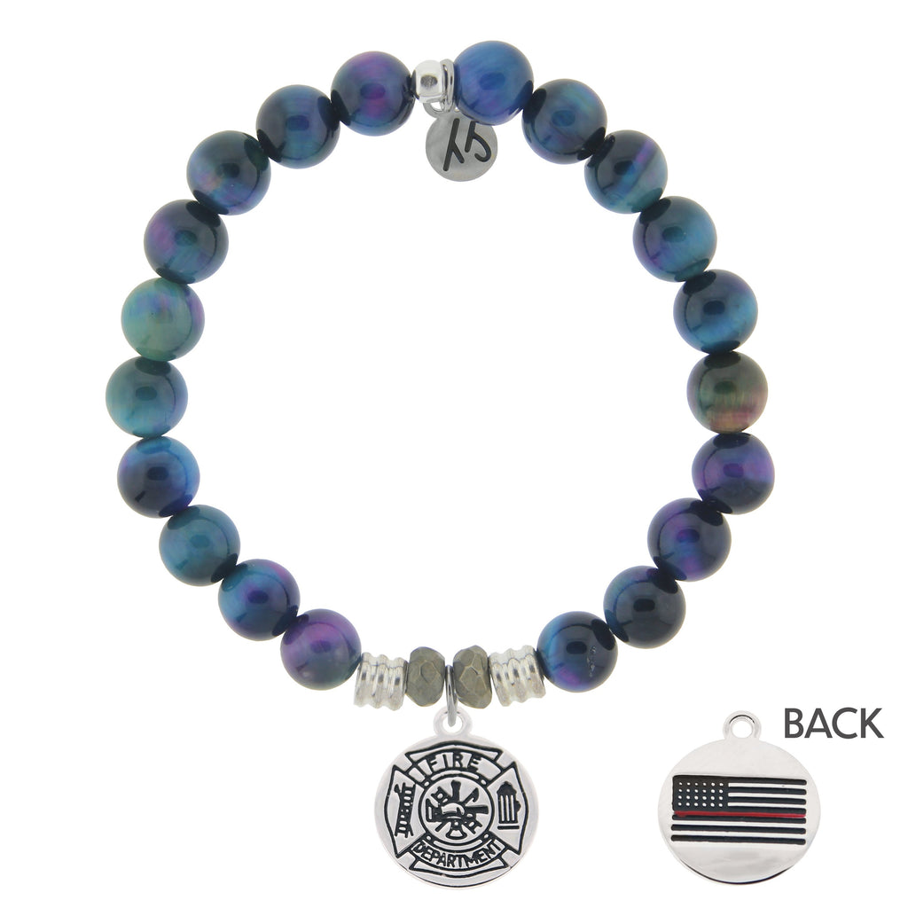 Indigo Tiger's Eye Stone Bracelet with Firefighter Sterling Silver Charm
