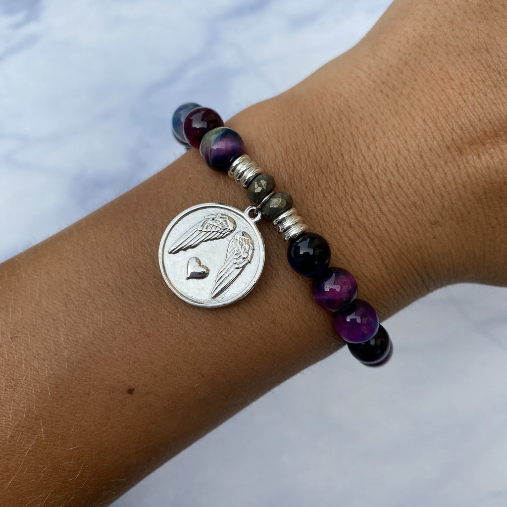 Indigo Tiger's Eye Stone Bracelet with Guardian Sterling Silver Charm