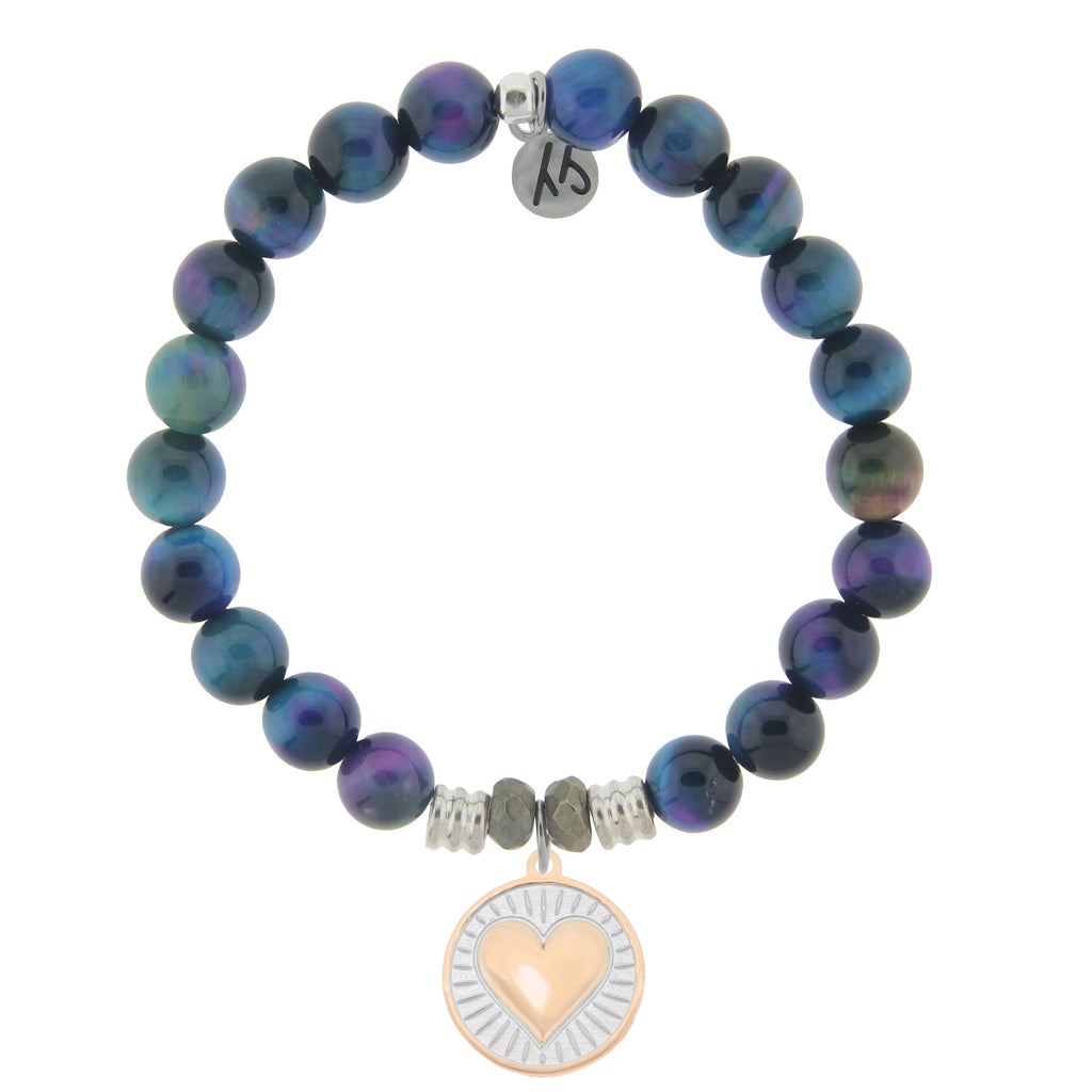 Indigo Tiger's Eye Stone Bracelet with Heart of Gold Sterling Silver Charm