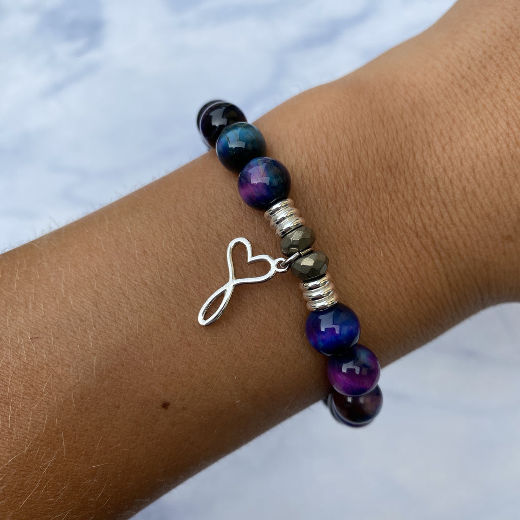 Indigo Tiger's Eye Stone Bracelet with Infinity Heart Sterling Silver Charm
