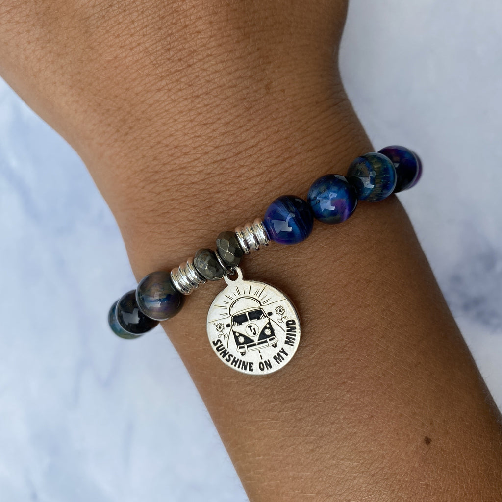 Indigo Tiger's Eye Stone Bracelet with Life's a Journey Sterling Silver Charm