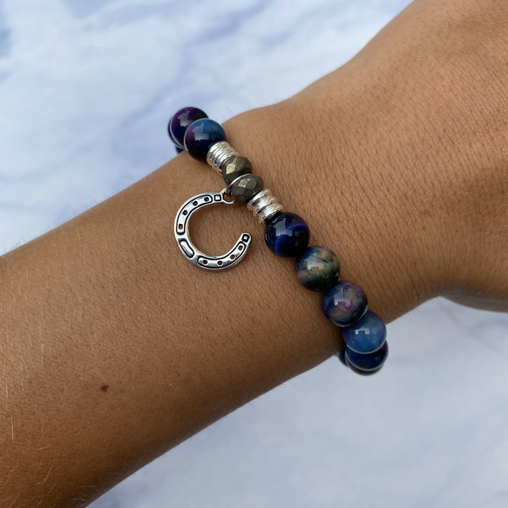 Indigo Tiger's Eye Stone Bracelet with Lucky Horseshoe Sterling Silver Charm
